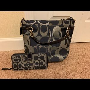 COACH Signature Navy & Silver Purse & Wallet Set